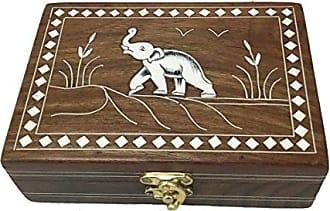 Benzara Dancing Elephant Wooden Storage Box, Brown, 7 x 5 inches