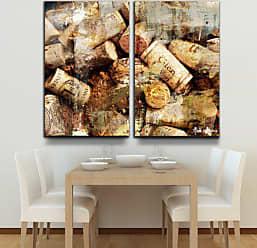 Ready2HangArt Never Enough Corks 2 Piece Oversized Modern Contemporary Canvas Wall Art Print, Panel: 40 x 20, Beige