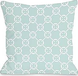 One Bella Casa Ceciles Circles Throw Pillow by OBC, 16x 16, Fair Aqua