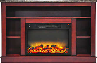 Cambridge Silversmiths CAM5021-1CHRLG2 47 In. Electric Fireplace with Enhanced Log Insert and Cherry Mantel