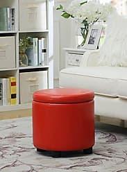 Convenience Concepts Designs4Comfort Round Accent Storage Ottoman, Red