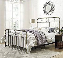 Walker Edison WE Furniture AZQMPBR Queen Bed, Bronze