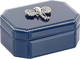 Deco 79 35789 Blue Glass and Wood Jewelry Box Silver