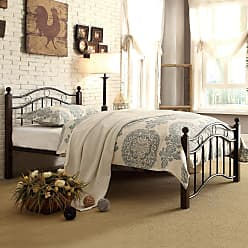 Weston Home Averny Metal Platform Bed - Black / Brown, Size: Queen - 2020QBK-1
