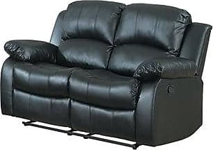 Overstock Classic Oversize and Overstuffed 2 Seat Bonded Leather Double Recliner Loveseat (Black)
