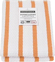Now Designs Basketweave Kitchen Dishcloth, Set of Two, Kumquat Orange