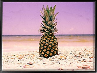 Stupell Industries Stupell Home Décor Pink Purple Pineapple Beach Oversized Framed Giclee Texturized Art, 16 x 1.5 x 20, Proudly Made in USA