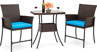 Best Choice Products 3-Piece Patio Wicker Bistro Furniture Set w/ Tempered Glass Top Table