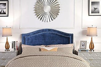 Iconic Home FHB9052-AN Tal. Headboard Velvet Upholstered Double Row Silver Nailhead Trim Modern Transitional Full/, Queen, Navy