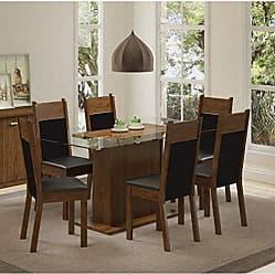 Madesa Conjunto Sala de Jantar Mesa 6 Cadeiras Atlanta Madesa Mint Crisp