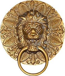 Hickory Manor House Round Lion Plaque Towel Holder, Antique Gold
