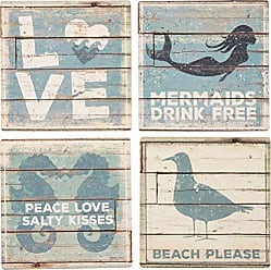 Primitives By Kathy 30899 Absorbent Stone Coaster Set, Beach