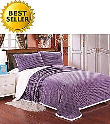 Elegant Comfort Luxury Micro-Sherpa Ultra Plush Warm Heavy-Weight Wave Pattern Blanket, King/Cal King, Lavender