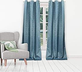 Duck River Textile Jax Linen Textured Foam Back Grommet Top Window Curtains for Living Room & Bedroom - Assorted Colors - Set of 2 Panels (38 X 84 Inch - Blue)