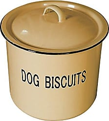 Creative Co-op DA1981 Yellow Metal Dog Biscuit Container with Lid & DOG BISCUITS Lettering