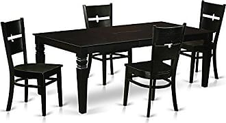 East West Furniture LGRO5-BLK-W 5 Piece Dining Table and 4 Wood Chairs, Black