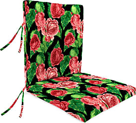 Jordan Manufacturing Company Classic Large Club Chair Cushion w/Ties, 44 x 22, in Cabbage Rose