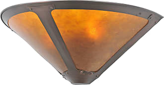 Meyda 67968 Van Erp Amber Mica Wall Sconce in Mahogany Bronze finish with Amber Mica