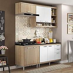 Multimóveis Cozinha Completa com Balcão com Tampo 5 Peças 7 Portas Sicília Multimóveis Argila/Branco