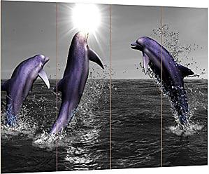 Fröhliche Delfine springen im Meer Leinwandbild Wanddeko Kunstdruck