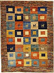 Nain Trading Handknotted Persian Gabbeh Kashkuli Rug 39x29 Orange/Dark Blue (Wool, Iran/Persia)