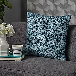 Christopher Knight Home 302763 Gerard Blue and Green Print Fabric Throw Pillow