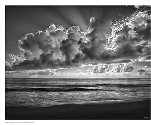 Buyartforless Majestic Morning by Eve Turek 14x11 Photograph Art Print Poster Artistic Clouds with Sun Rays