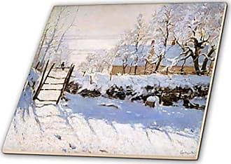 3D Rose 3dRose ct_203680_4 Print of Monet Painting The Magpie Ceramic Tile, 12