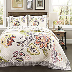 Lush Décor Lush Decor Aster Quilt Flower Pattern Reversible Coral and Navy 3 Piece Lightweight Bedding Set, Full/Queen