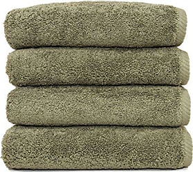 Linum Home Textiles Soft Twist Premium Authentic Soft 100% Turkish Cotton Luxury Hotel Collection Hand Towel, Set of 4, Light Olive
