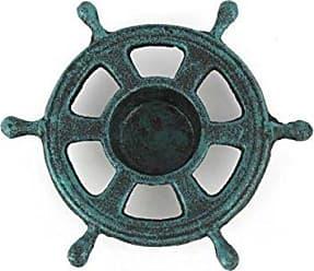 Handcrafted Nautical Decor Hampton Nautical Cast Iron Ship Wheel Decorative Tea Light Holder, 5, Seaworn Blue