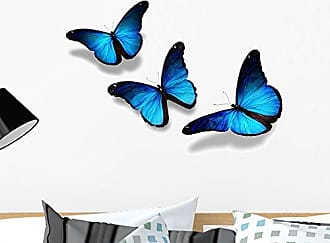 Wallmonkeys Three Blue Butterflies Flying Wall Decal Peel and Stick Graphic (24 in W x 16 in H) WM2755