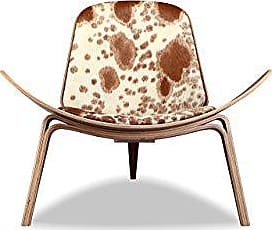 Kardiel PONYBRNWHT-WL Tripod Plywood Modern Lounge Chair, Brown & White Cowhide/Walnut