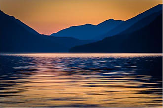 Noir Gallery Sunset Over Lake and Mountains in Olympic National Park Metal Wall Art - AP-08-MP-08