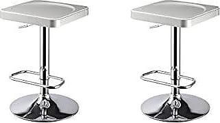 Round Hill Furniture I-Stool ABS Adjustable Swivel Barstools, White, Set of 2