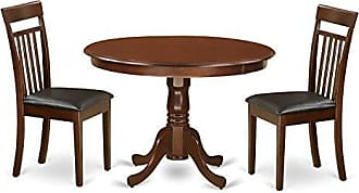 East West Furniture HLCA3-MAH-LC 3 PC Hartland Set with One Round 42in Kitchen Table & Two Kitchen Chairs with Faux Leather Seat in a Beautiful Mahogany Finish