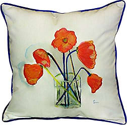 Betsy Drake Poppies in Vase Pillow, 22 x 22