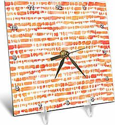3D Rose 3D Rose Contemporary Orange Watercolor Uneven Brush Stroke Stripes Pattern Desk Clock, 6 x 6