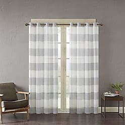 Urban Habitat White Grey Grommet Curtains for Living Room, Mason Striped Window Curtains for Bedroom Family Room, Polyester Semi-Opaque Living Room Curtains, 50X63, 1-Panel Pack