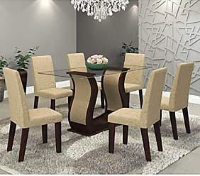 Viero Conjunto Sala de Jantar Mesa Favorita e 6 Cadeiras Vênus Viero Choco/Acácia