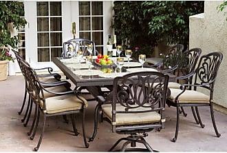 DARLEE Outdoor Darlee Elizabeth 9 Piece Granite Top Aluminum Patio Dining Set - DL707-9PC-77L