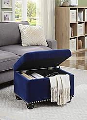 Convenience Concepts 163010FVBE Designs4Comfort 5th Avenue Storage Ottoman, Blue Velour