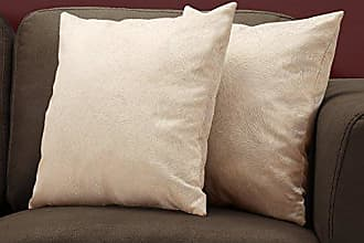 Monarch Specialties I 9319 Feathered Velvet Decorative Throw Pillow, 18X 18, Light Taupe
