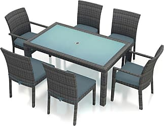Harmonia Living Outdoor Harmonia Living District Wicker 7 Piece Rectangular Patio Dining Set Canvas Charcoal - HL-DIS-TS-7DS-CC