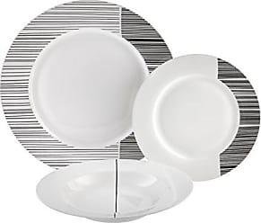 AMBITION Tafelservice Porto 18 Teilig Geschirrset Porzellan Wei/ß Speiseteller Suppenteller Dessertteller