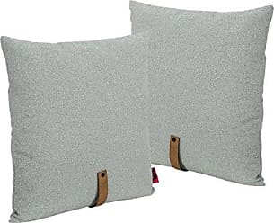 Christopher Knight Home 305390 Dunn Mid Century 25 Square Fabric Pillow with Faux Leather Strap (Set of 2), Gray and Autumn Tan, Grey