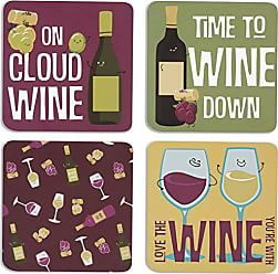 Pavilion Gift Company 74936 Wine Sentiment, Pattern and Character Holder-4 Inch 4 (4 Piece) Coaster Set with Box, Square, Multicolor