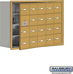 Salsbury Industries 19148-20GRK Cell Phone-Access Panel-4 Unit Recessed Mounted-Keyed Locks with 8-Inch Diameter Compartments, Gold