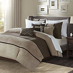 Madison Park Palisades Duvet Cover King/Cal King Size - Brown, Taupe, Pieced Stripe Duvet Cover Set - 6 Piece - Micro Suede Light Weight Bed Comforter Covers