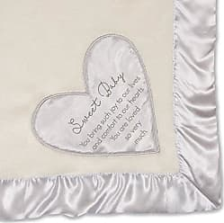 Pavilion Gift Company Pavilion - Sweet Baby - Silver Silk Edge Royal Plush Babys First Blanket 30 x 40 Inch